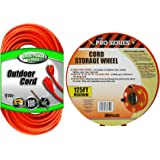 Coleman Cable Bundle - 100 ft - Outdoor Heavey Duty Extension Cord Plus Wind up Reel