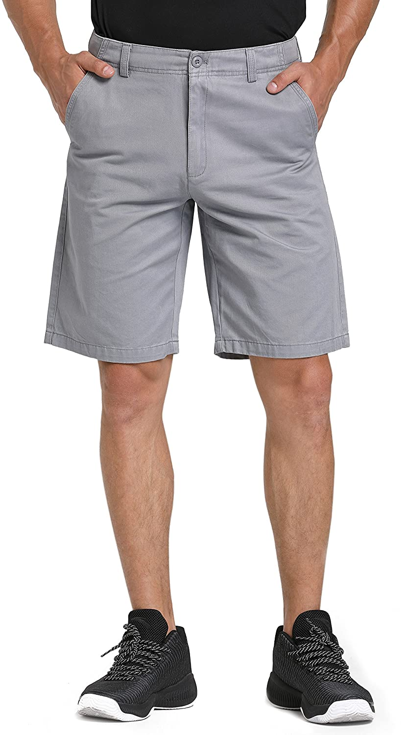 WenVen Men's Classic Fit Flat Front Shorts