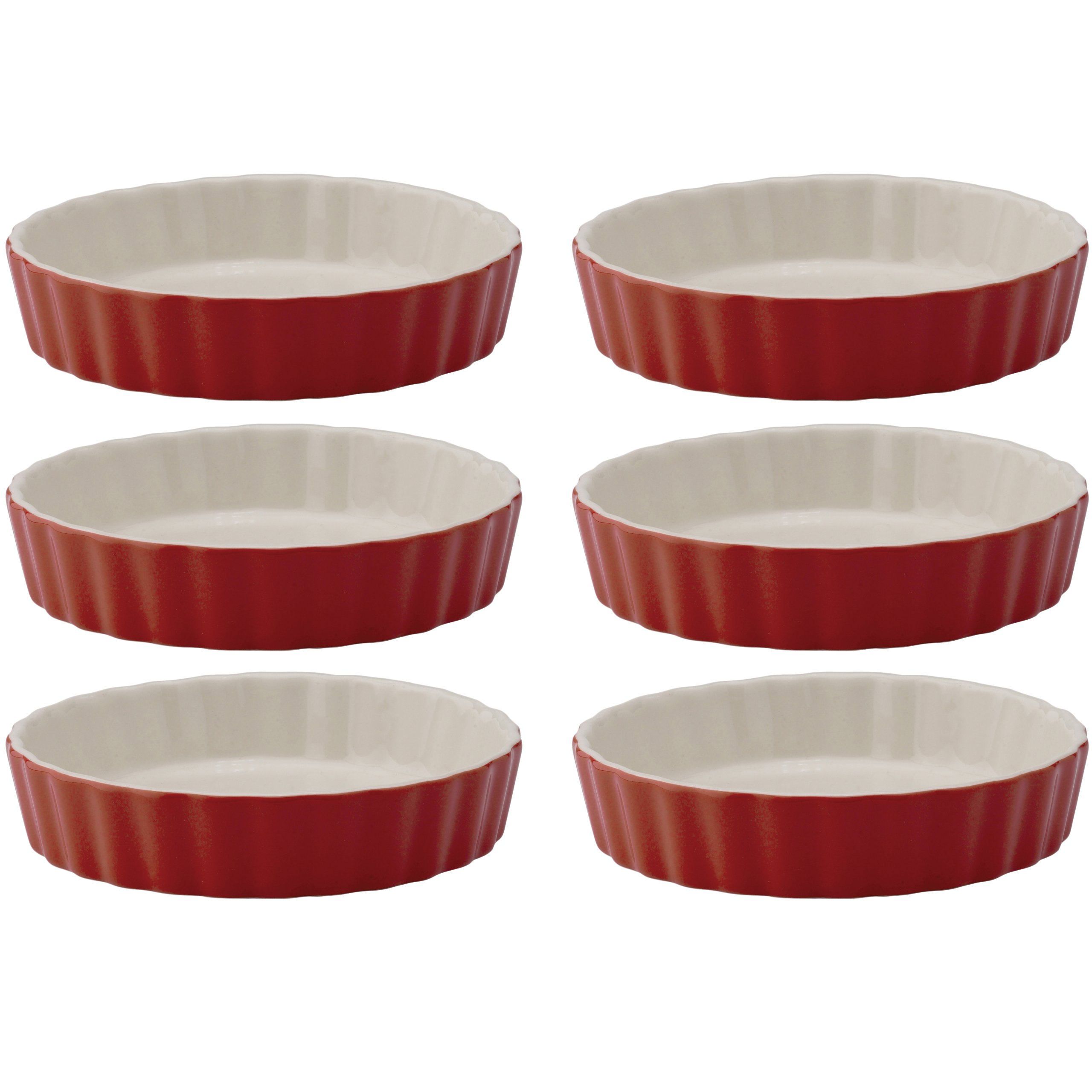 Mrs. Anderson's Baking Round Quiche Creme Brulee, Ceramic Earthenware, Rose, Set of 6, 5-Inches x 1-Inch