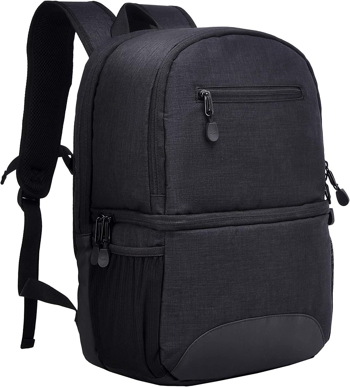 MIER 2 in 1 Insulated Cooler Backpack for Men Women Hiking Daypack with Lunch Compartment,Double Deck,Leakproof,Black