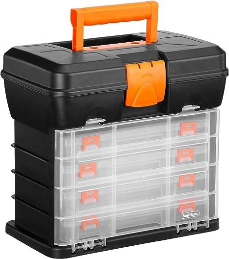 Caja de Herramientas VonHaus Estuche Organizador con 4 Cajones y Divisores Ajustables: Amazon.es: Bricolaje y herramientas