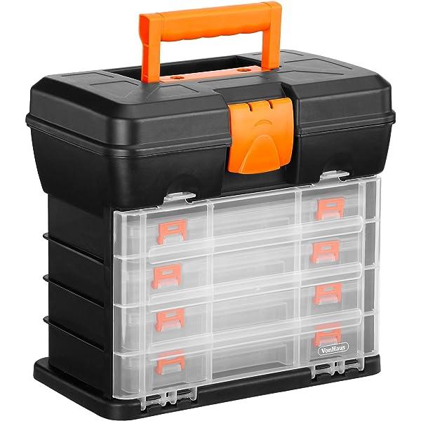 2 x Hobby Craft Box Case 30cm x 10cm Clear 2 Compartments Storage Organiser