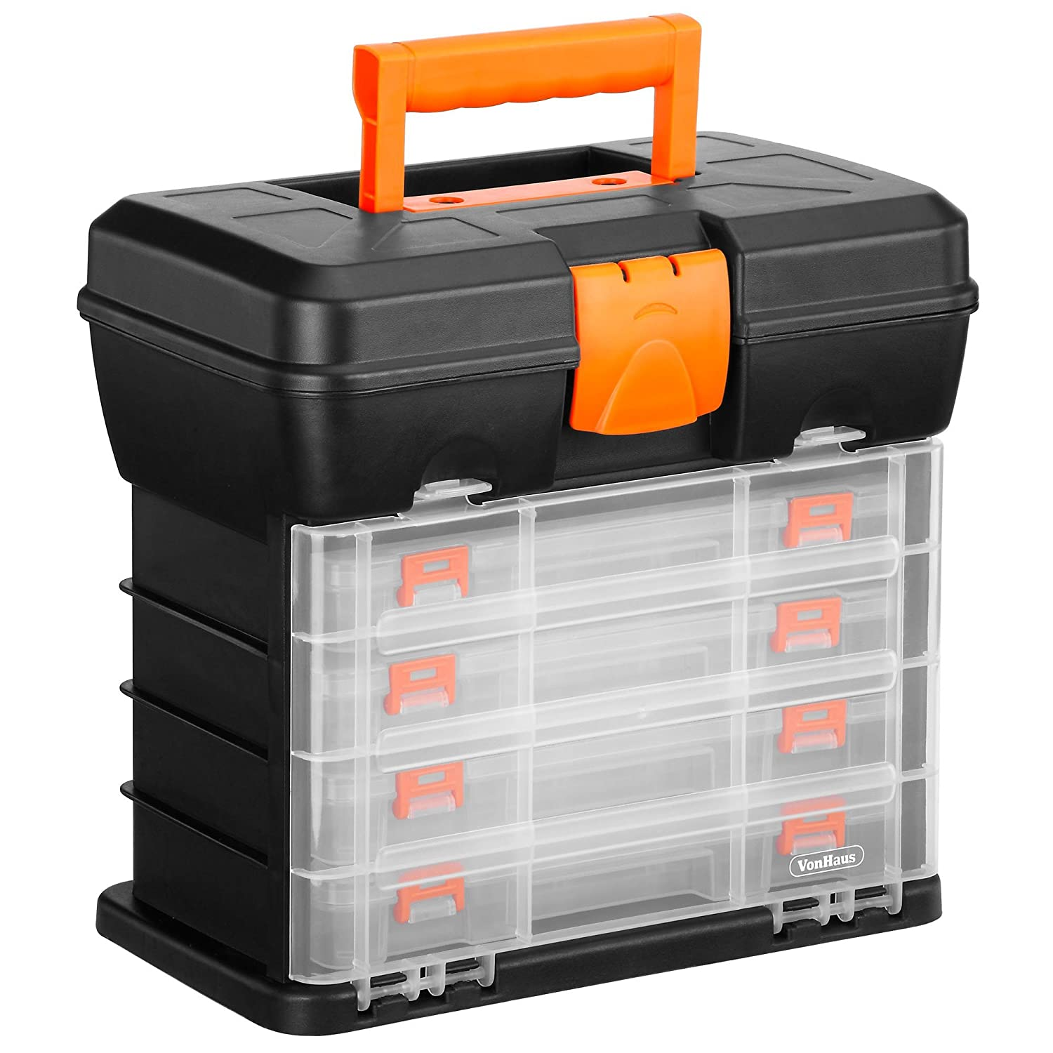 VonHaus Utility Tool Box Organiser Case with 4 Drawers /& Adjustable Dividers