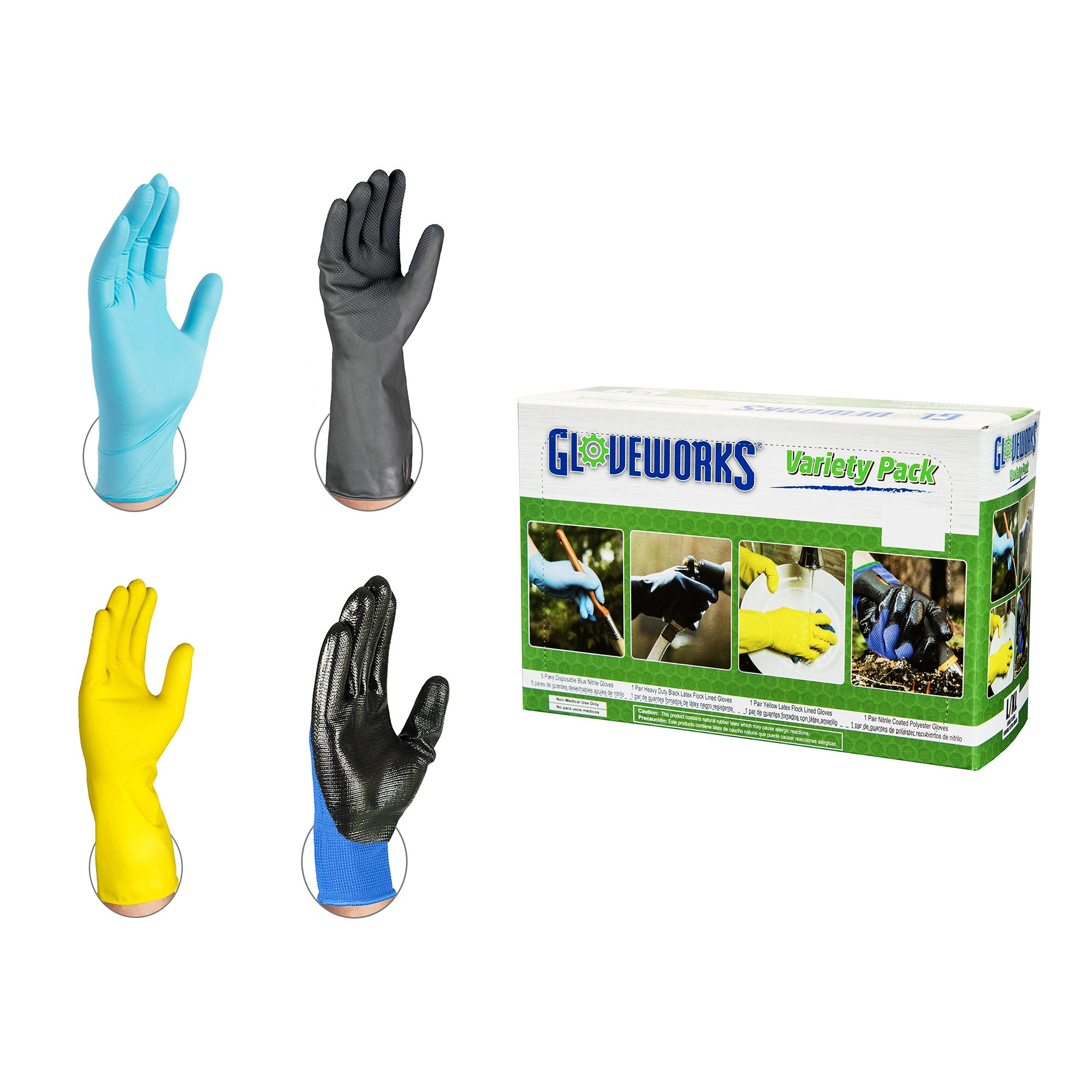 AMMEX - GWDIYSM - Latex and Nitrile Gloves - Gloveworks - 8 pairs/box; 20 boxes/case, Industrial, Small/Medium (Case of 160 Pairs)
