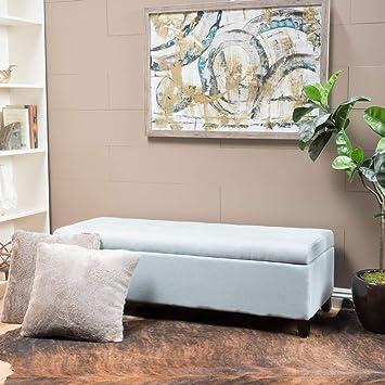 Admirable Christopher Knight Home 299530 Living Santa Rosa Light Sky Fabric Storage Ottoman Creativecarmelina Interior Chair Design Creativecarmelinacom