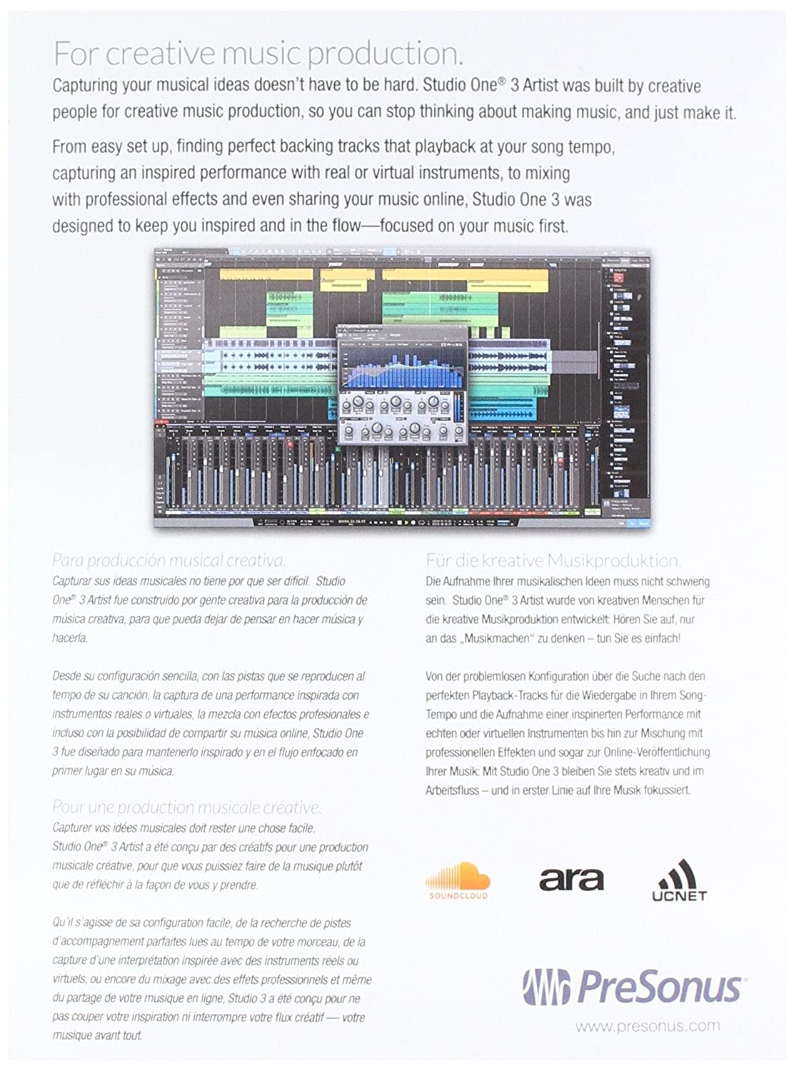 Amazon.com: PreSonus Studio One 3 Artist Recording and Production ...