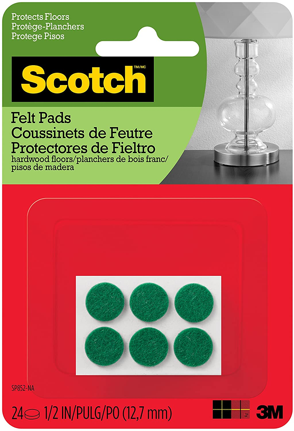 Beige Diameter Round Great for Protecting Wood Floors 1 in Scotch Brand Felt Pads by 3M New