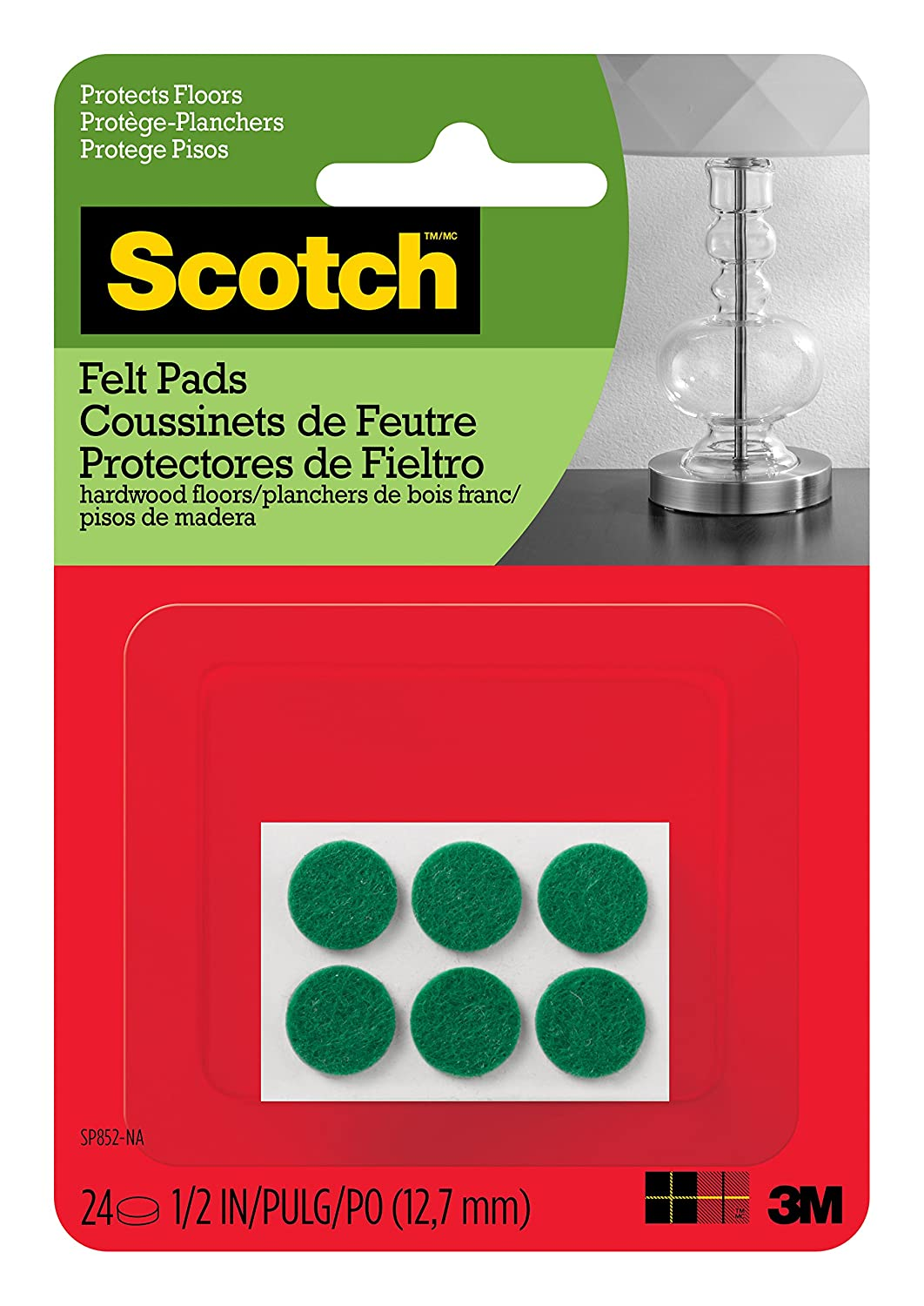 Scotch Brand Felt Pads, Premium Quality, By 3M, Protectors, Round, 1/2 in. Diameter, Green, 24/Pack