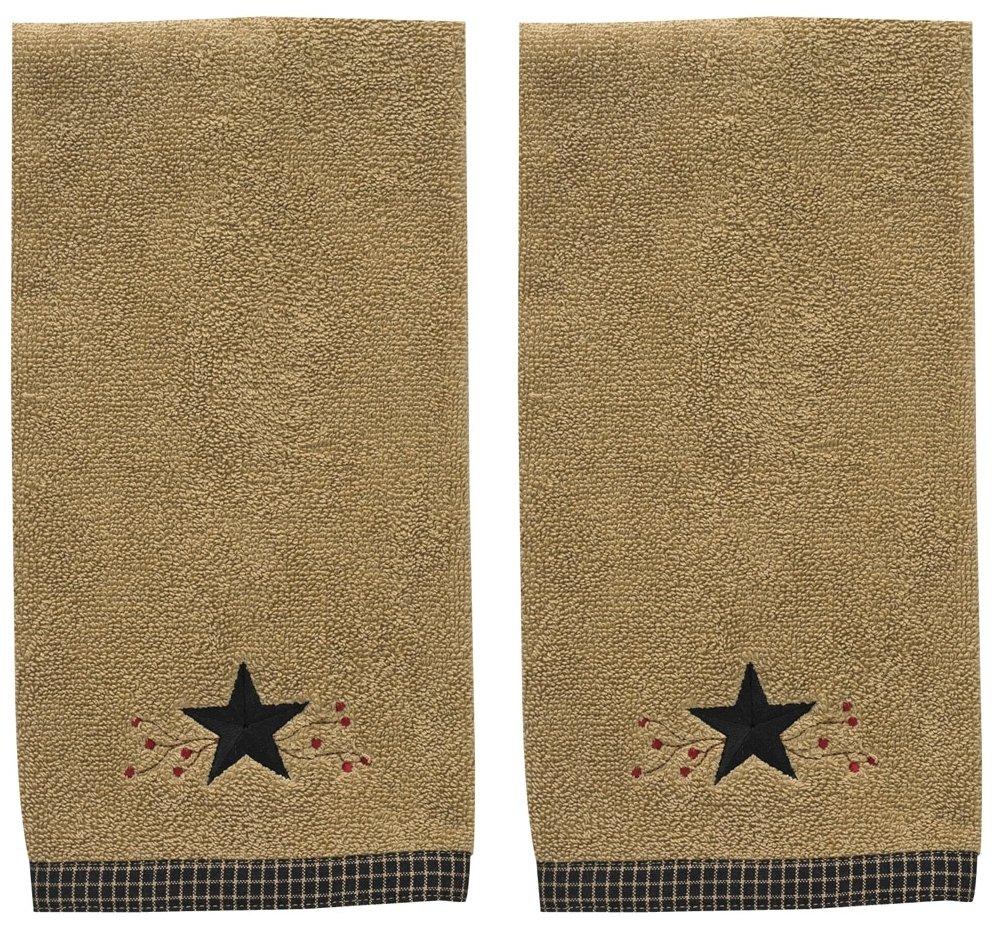 Park Designs Star Vine Terry Hand Towel Tan Black Set of 2