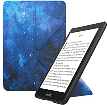 Genuine Leather Perfect Fit Origami Standing Cover with Auto Wake//Sleep for  Kindle Voyage Kindle Voyage Case Blue
