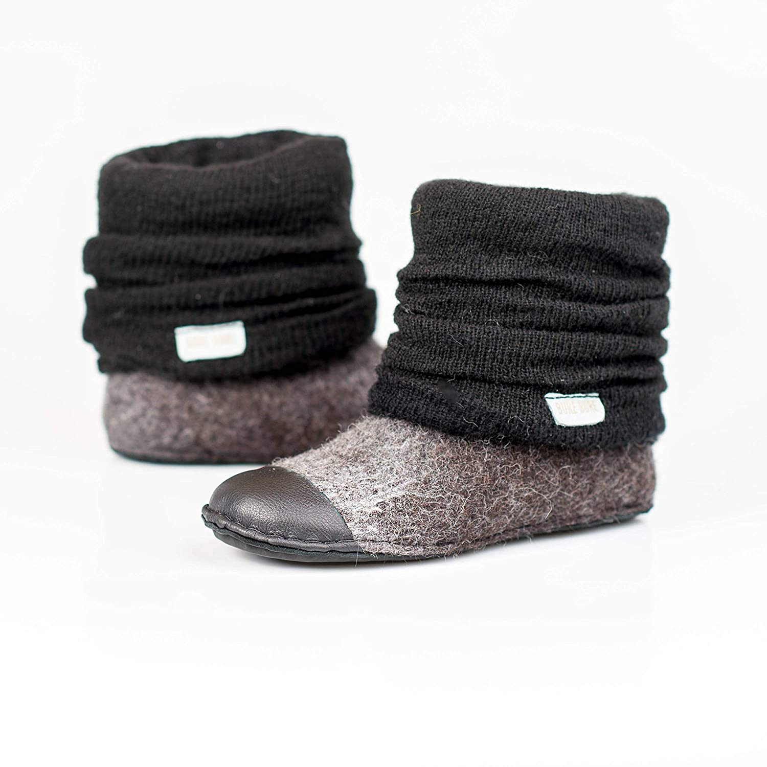 Gray to black ombre felted wool ankle boots for women with natural edge leather toe caps, knitted leg warmers