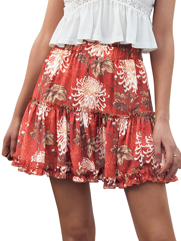 Simplee Women's Casual Boho Floral Skirt Soft Ruffle Summer Short Skirt Print US 10