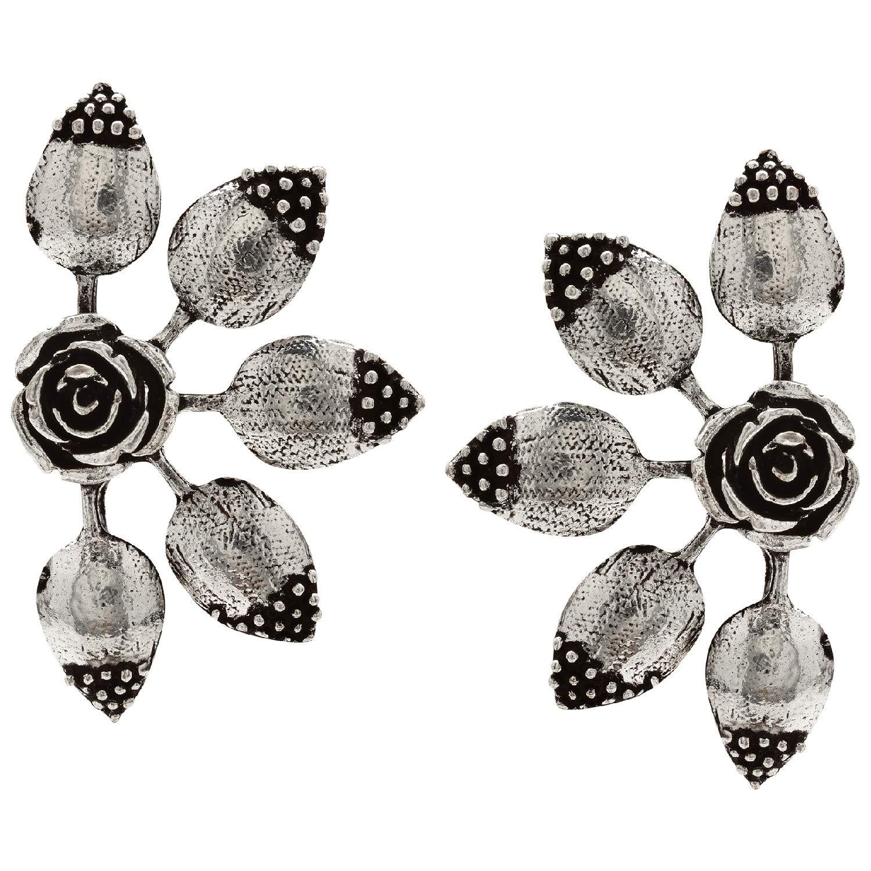 Antique Silver  TEDDY BEAR /& FLOWERS Earrings On Sterling Silver Hooks Gift Bag