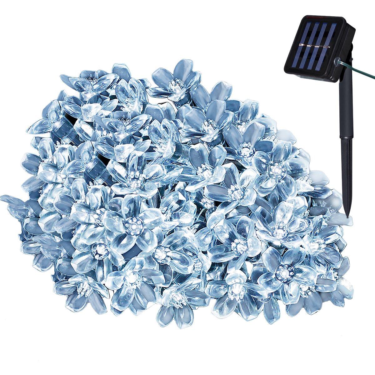 Yasolote 7M 50 LED Luci Natalizie da Esterno Formato di Fiore Addobbi Natalizi Luci per Giardino Patio Luci Decorazioni Natale Catene Luminose Solare per Albero di Natale (Bianco)