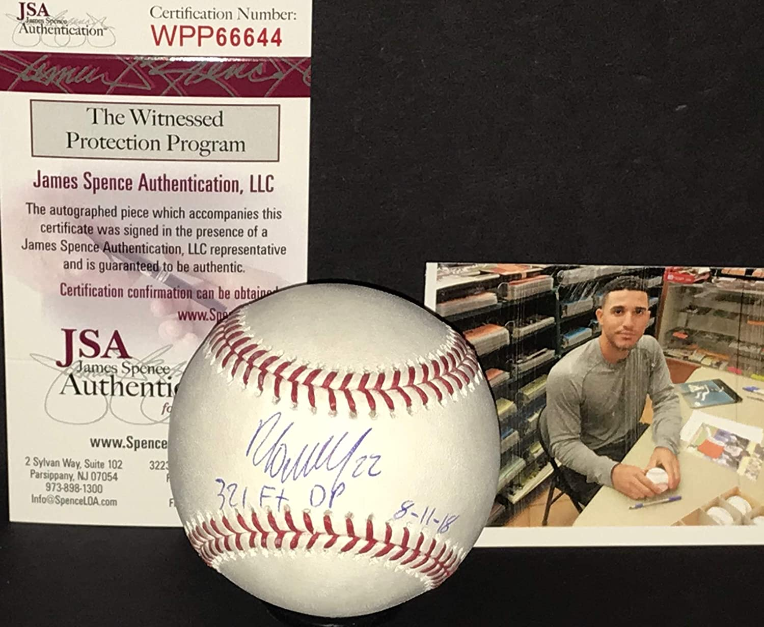 Ramon Laureano Oakland A's Autographed Signed Official Major League Baseball JSA WITNESS COA MLB DEBUT 321 FT DP 8-11-18 SidsGraphs