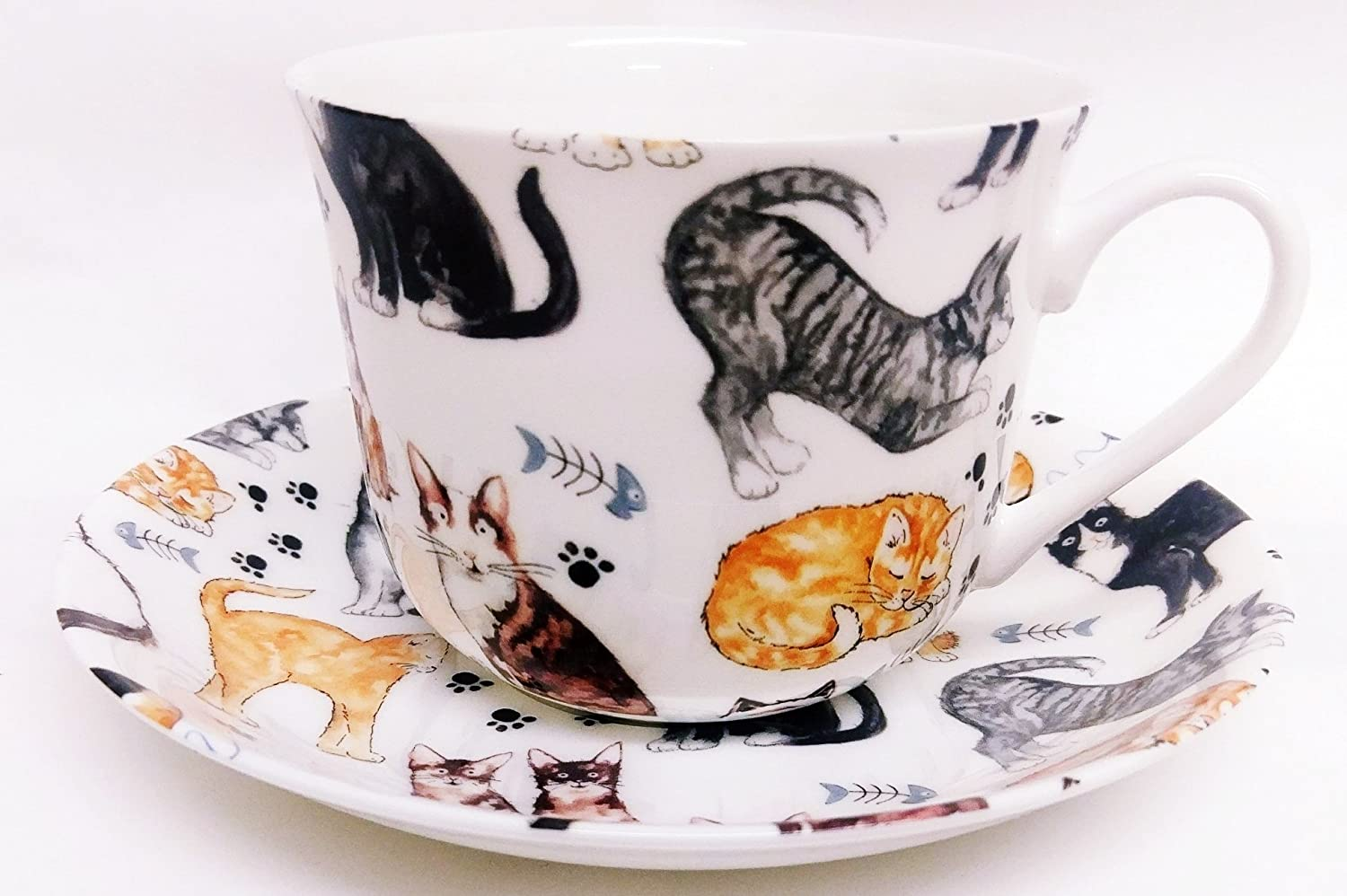 Cats Breakfast Cup & Saucer Fine Bone China Large Cats Collage Cup & Saucer Hand Decorated in the U.K. Rainbow Decors Ltd.