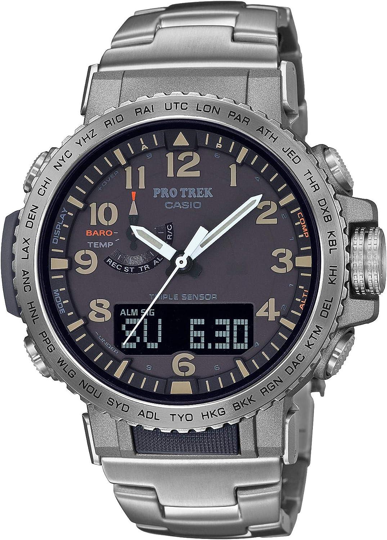 Casio Men s Pro Trek Stainless Steel Quartz Sport Watch with Titanium Strap, Silver, 22 Model PRW-50T-7ACR