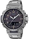 Casio Men's Pro Trek Stainless Steel Quartz Sport Watch with Titanium Strap, Silver, 22 (Model: PRW-50T-7ACR)