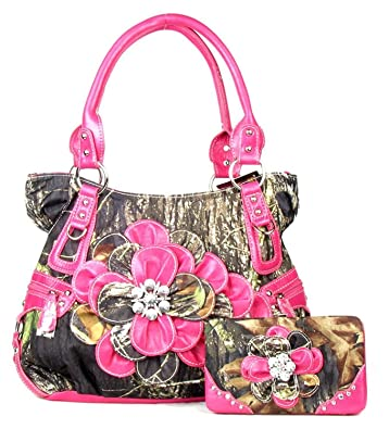 Western Purse Camouflage Camo Flower Handbag Hot Pink Large Wallet ...