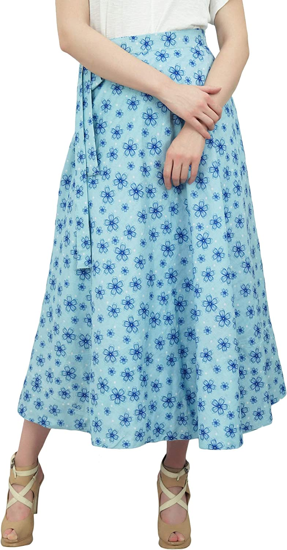 Phagun Falda Larga Hippy luz Azul Reversible Falda del Abrigo de ...