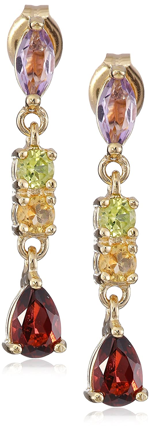 yellow silver dp amazon sterling genuine com dangle plated earrings gemstone multi jewelry gold