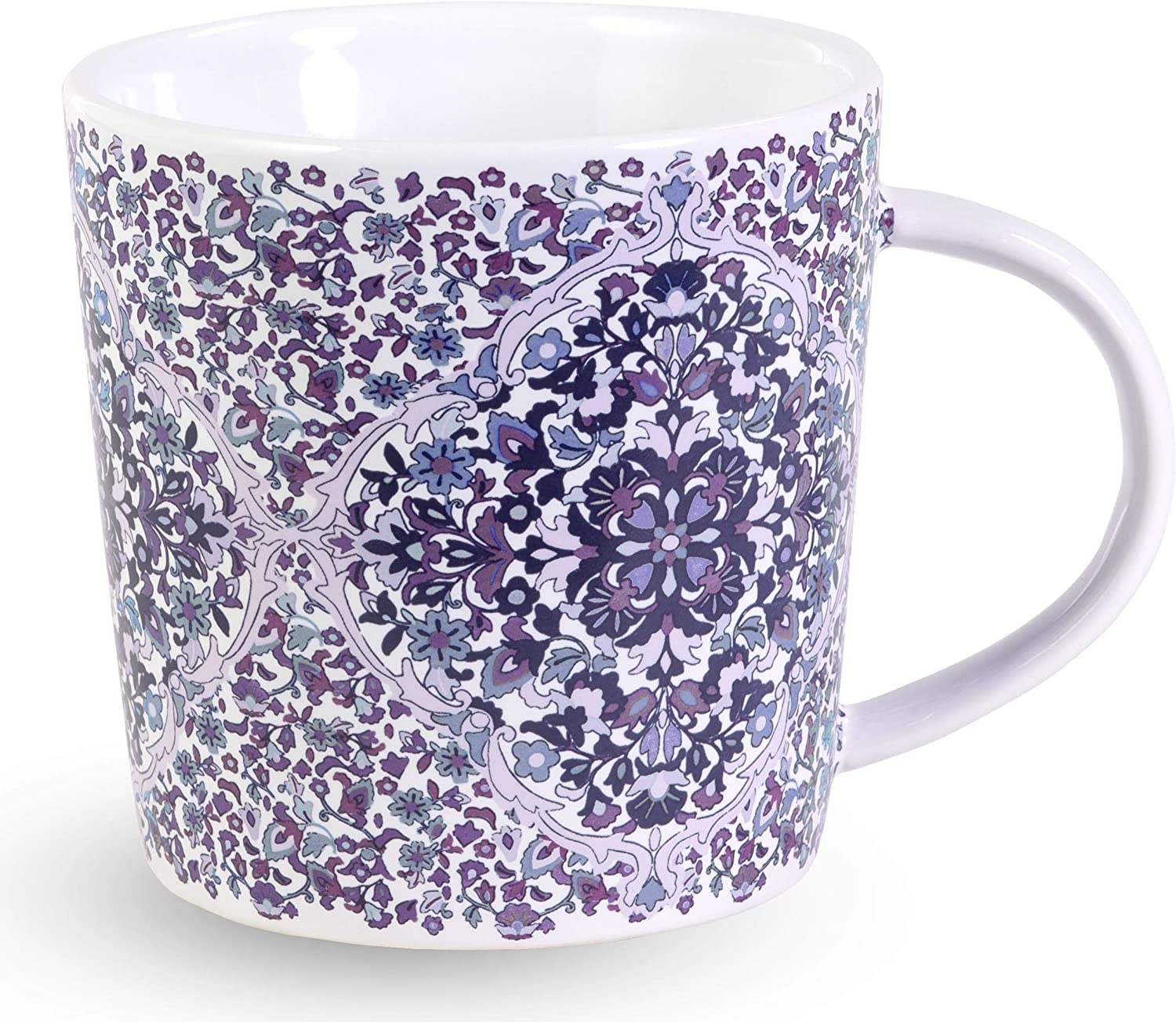 Vera Bradley Purple Floral Ceramic Coffee Mug/Tea Cup, Dishwasher and Microwave Safe, 12 Ounces, Regal Rosette