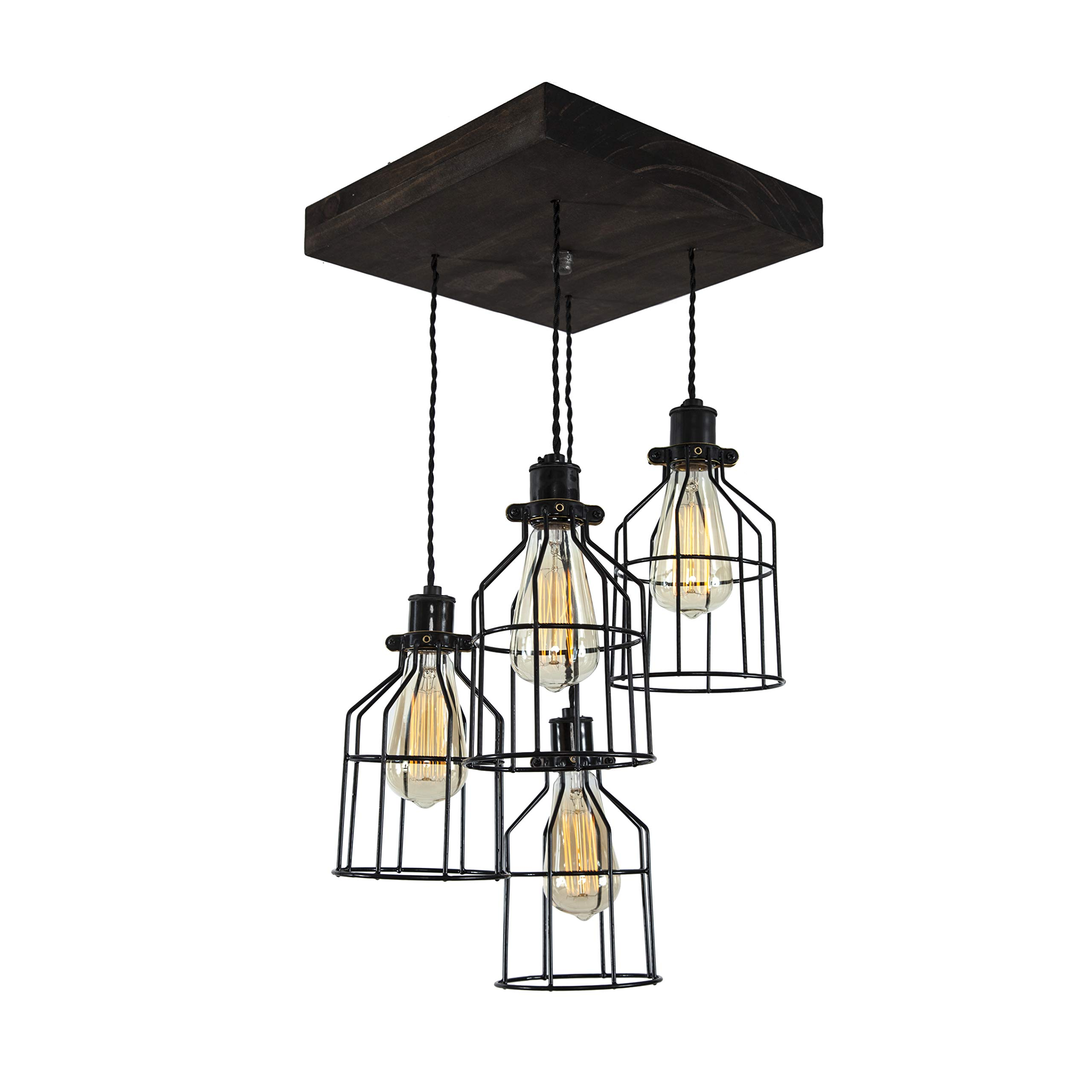 West Ninth Vintage Old Elm Wood Multi Pendant Farmhouse Chandelier | 4 Sockets with Black Cages
