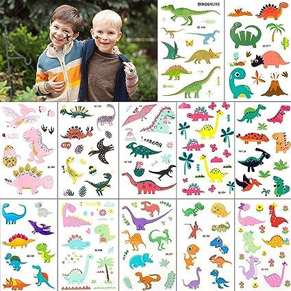 Dinosaurio Tatuajes Pegatinas Para Niños Niñas, MOOKLIN Falso Tatuajes Temporales tatuajes de colores Para infantiles fiesta de cumpleaños regalo ...