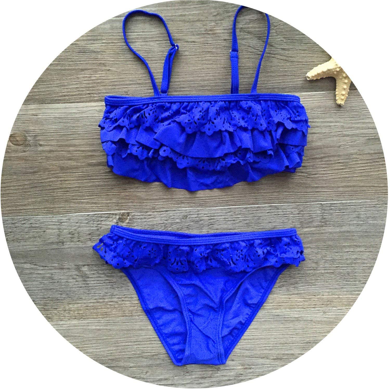 Jade clear 7-16years Children Swimwear Falbala Girls Swimwear Baby Kids Biquini Infantil Swimsuit Bikini Girl New Summer Bathing Suit,A,13 Years