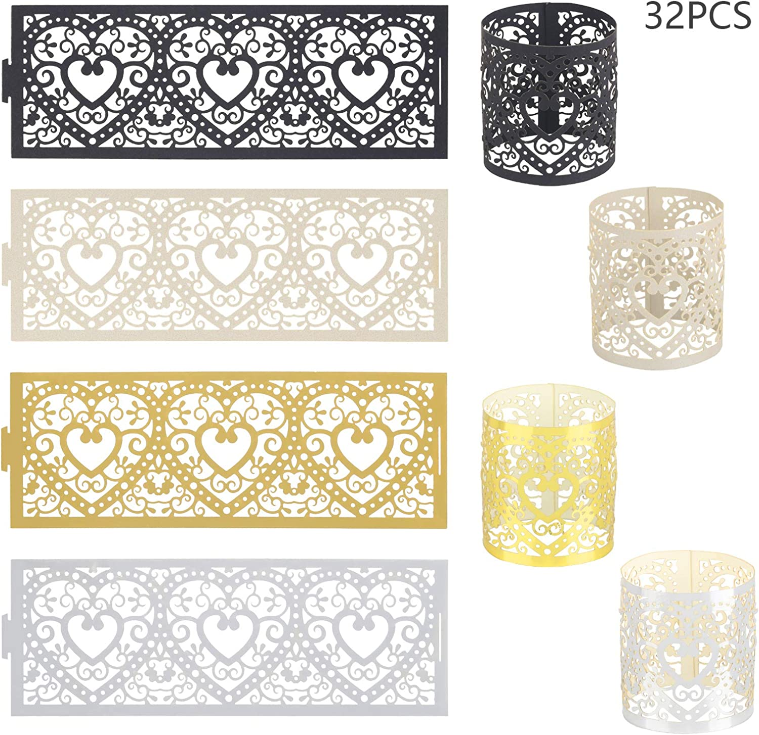 CHALA 32pcs Candle Wraps Paper,Flameless Tea Light Votive Candle Holder Laser Cut Decorative for Valentines Day Wedding Birthday Decoration Black,Gold,White,Silver