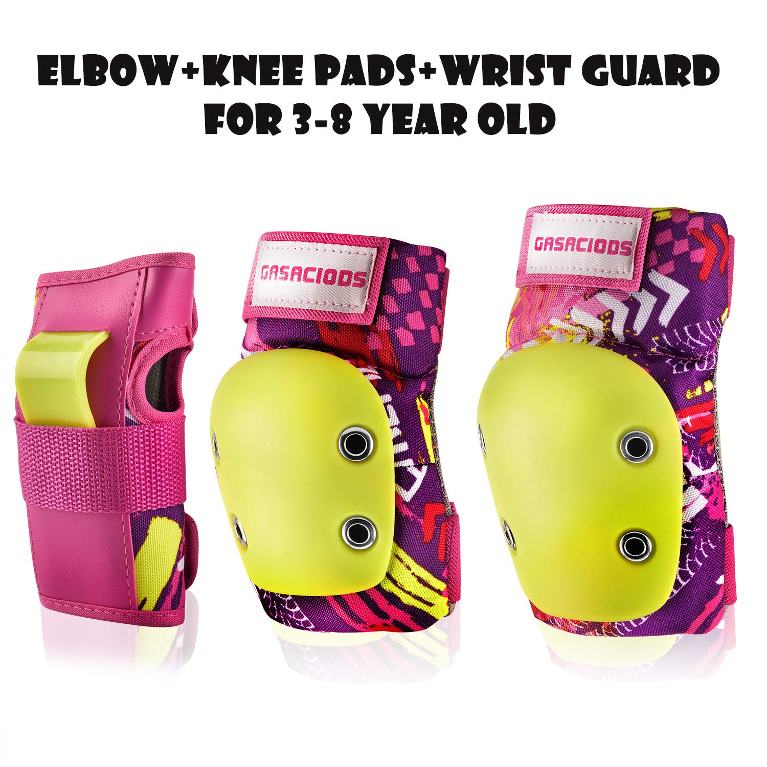 GASACIODS Kids/Child Sports Protective Gear, Colorful Shell Fabric Thickened Unzerbrechlich Design,Knee Pads Elbow Pads Wrist Guards Pads Set for Skateboarding Inline Roller Skating Cycling Bike by GASACIODS