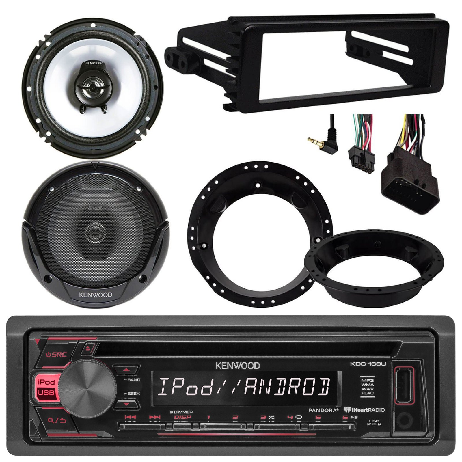 Kenwood KDC168U CD Stereo Audio Receiver - Bundle Combo With 2x Kenwood 6.5'' Inch Black Coaxial Speakers W/ Adapter Brackets + Radio Dash Kit For 1998-2013 Harley Motorcycle Bikes