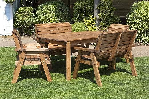 Home Gift Garden Mesa de jardín de 6 plazas de Madera para ...