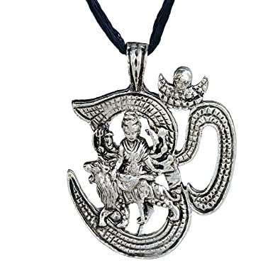 Dzinetrendz antique look om with durga hindu god chain pendant dzinetrendz antique look om with durga hindu god chain pendant necklace jewellery men and women mozeypictures Choice Image