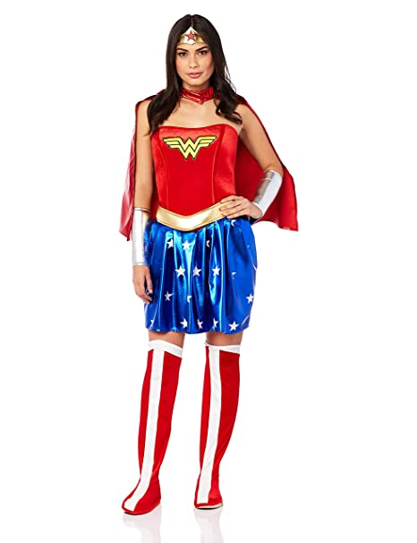 f3edd458e8b Secret Wishes Deluxe Wonder Woman Costume, Blue/Red, Large