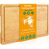 """Bamboo Cutting Board Wood Kitchen Chopping Boards with Handle and Juice Groove for Meat (Medium Butcher Block, 15"""" x 10"""")"""