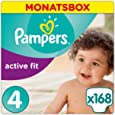 Pampers Premium Protection Active Fit Windeln, Gr.4 Maxi (8-16 kg), Monatsbox, 1er Pack (1 x 168 Stück)