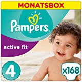 Pampers Premium Protection Active Fit Windeln, Gr.4 Maxi (8-16 kg), Monatsbox, 1er Pack (1 x 168 Stück)