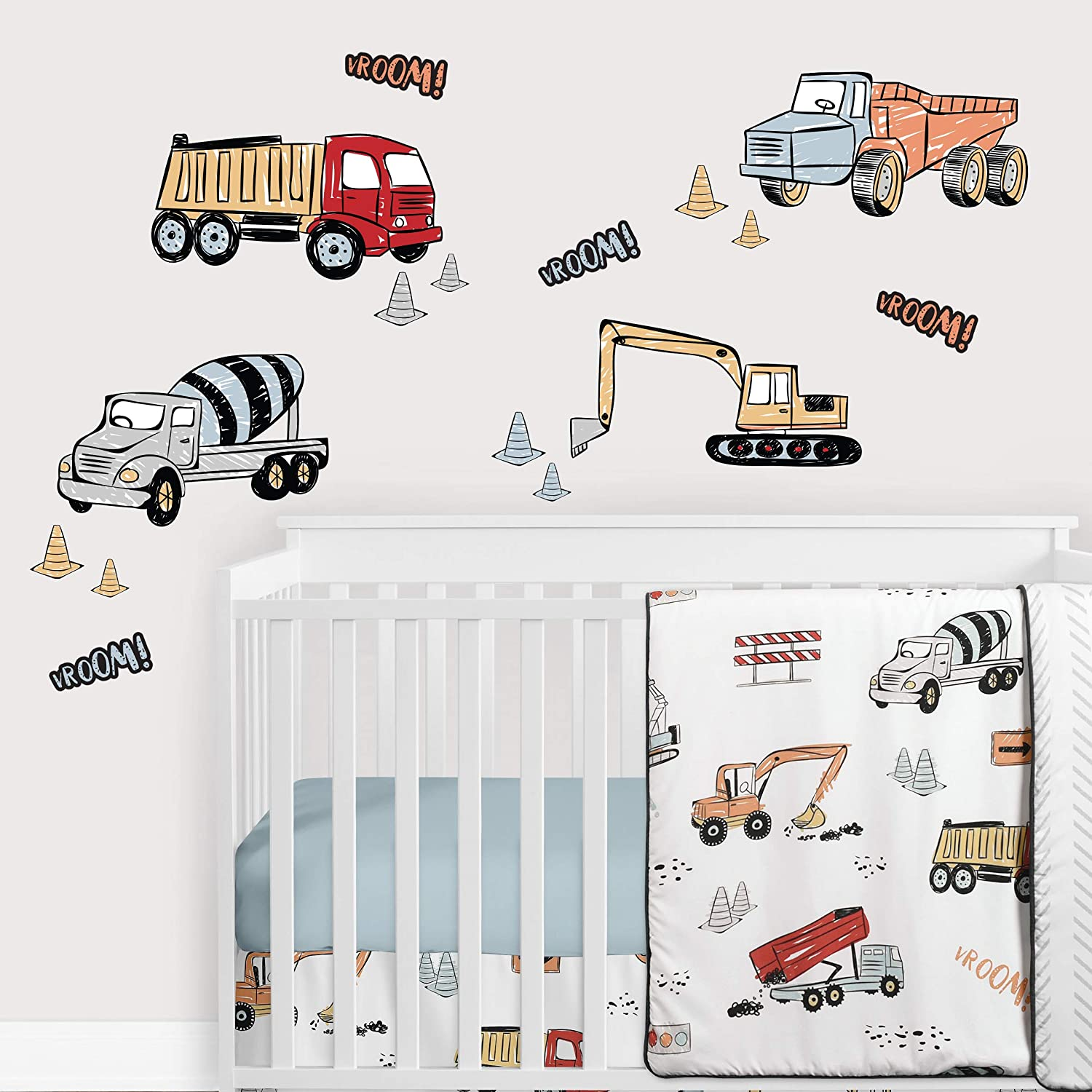 Sweet Jojo Designs Construction Truck Large Peel and Stick Wall Decal Stickers Art Nursery Decor Mural - Set of 4 Sheets - Grey Yellow Orange Red and Blue Transportation Zone Vehicles
