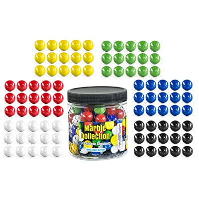 "My Toy House Chinese Checkers Glass Marbles. Set of 90, 15 of Each Color. Size 9/16"" (14mm), with Practical Container: Toys & Games"