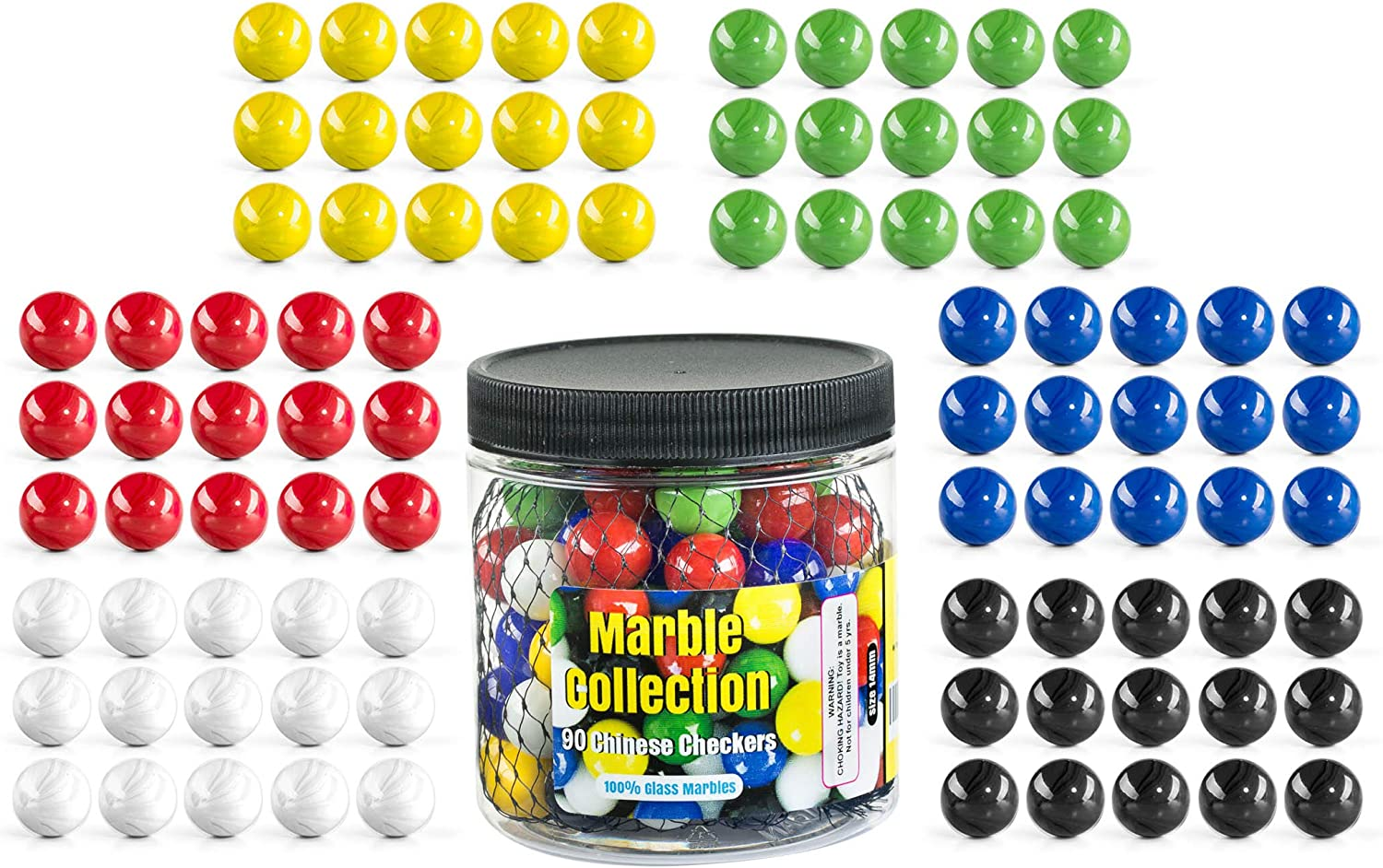 My Toy House Chinese Checkers Glass Marbles. Set of 90, 15 of Each Color. Size 9/16 (14mm), with Practical Container 81x4LGw7GPL
