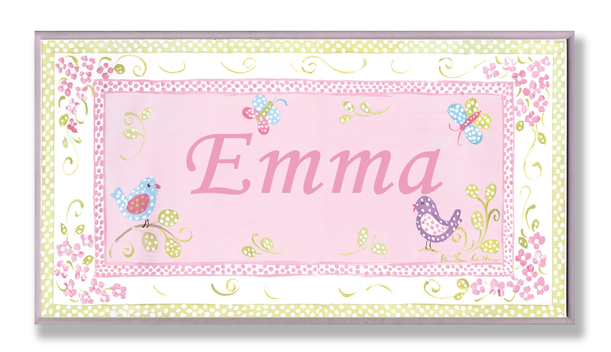 The Kids Room by Stupell Emma, Pink and Green Chickadees Personalized Rectangle Wall Plaque