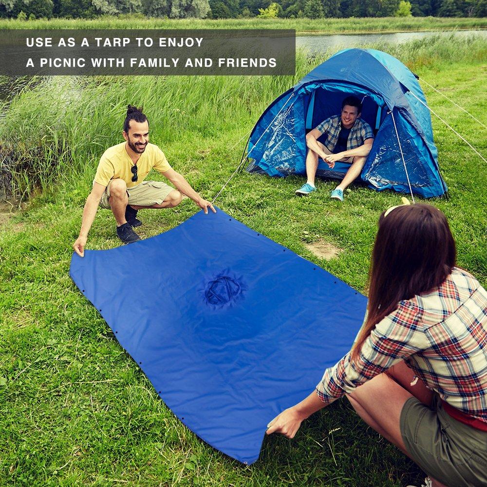 Terra Hiker Poncho de Lluvia Multi-Funcional Esterilla 3-en-1 Sombrilla o Impermeable de Doble Capa Impermeable para la Escalada Senderismo Camping Ciclismo Pesca y Caza