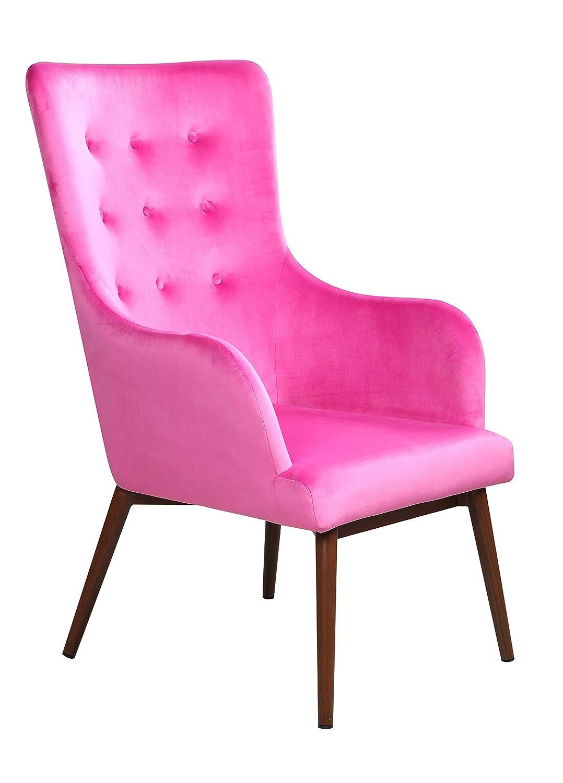 Design Sessel mit Armlehnen und Samt-Bezug, Polstersessel in Fuchsia, Pflegeleicht, Füße in Holz-Optik