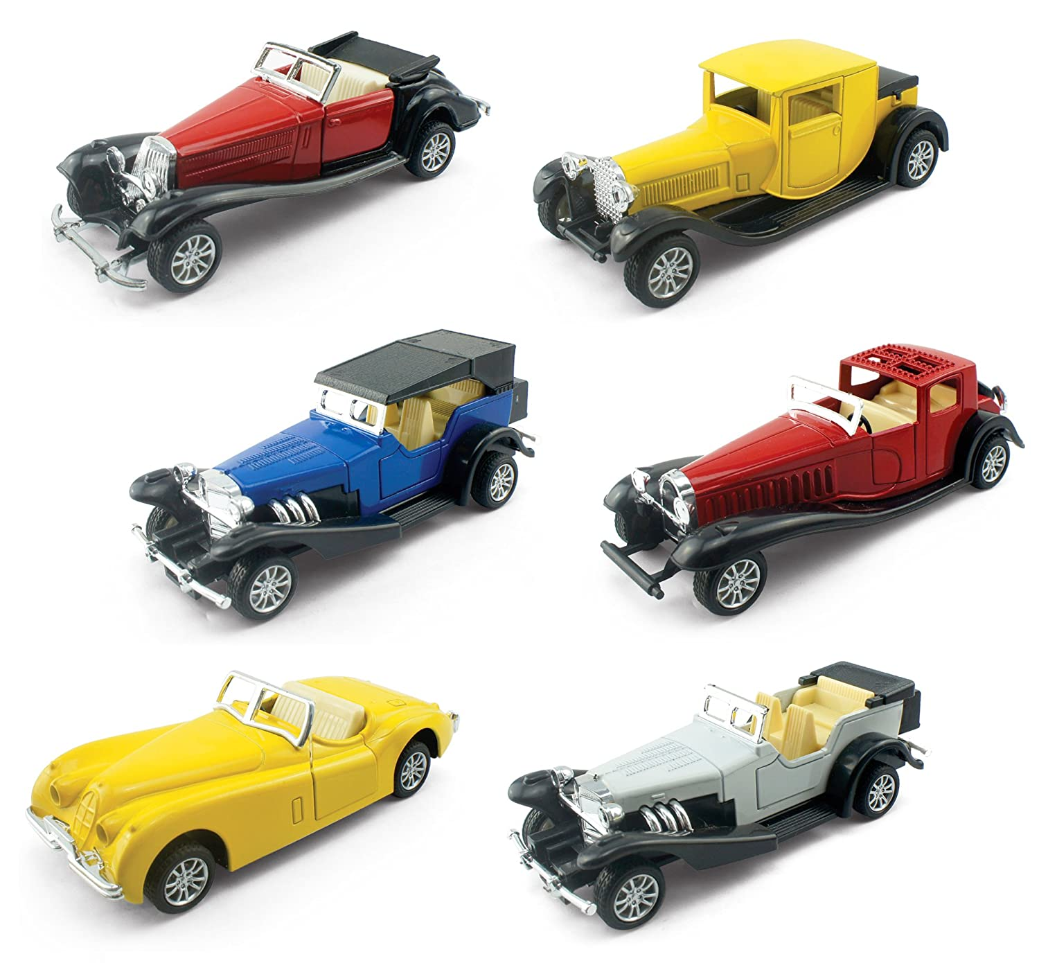Liberty Imports Set of 6 Assorted Pullback Diecast Metal Antique Classic Model Cars 1 32 Scale