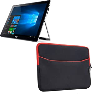 Acer Switch Alpha 12 (SA5-271) Case, BoxWave [SoftSuit with Pocket] Soft Pouch Cover w/Sleeve for Acer Chromebook R11 | Switch Alpha 12 (SA5-271), 5 (SW512-52) - Jet Black with Red Trim