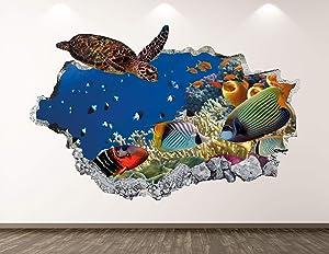 "West Mountain Turtle Wall Decal Art Decor 3D Smashed Aquarium Sticker Mural Kids Room Custom Gift BL73 (22"" W x 14"" H)"