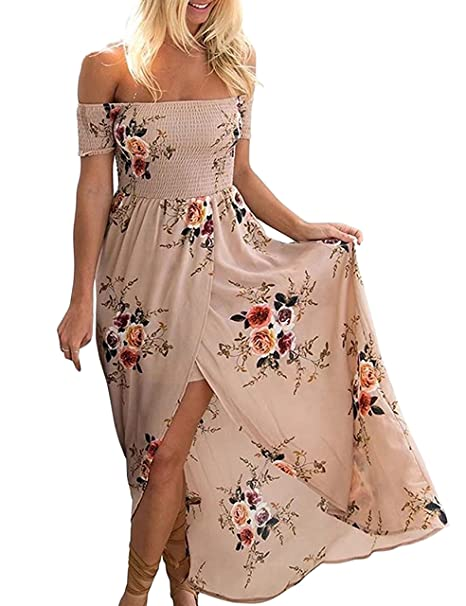 5a7944b733 Odosalii Women Sexy Off Shoulder Floral Print Split Boho Casual Beach Party Maxi  Dress Khaki