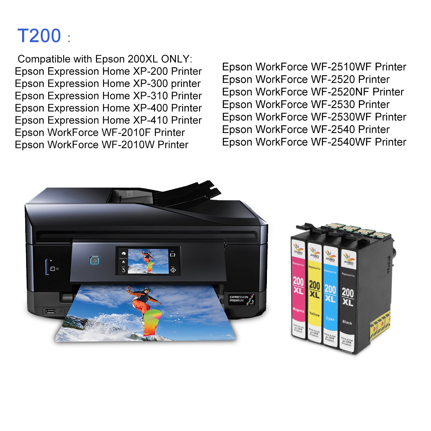 Amazon.com: Anbo 18Pack Remanufactured Cartridge Replacement for Epson 200  XL Ink Cartridges High Yield Compatible to XP-410 XP-310 WF-2540 WF-2530 WF-2520  ...