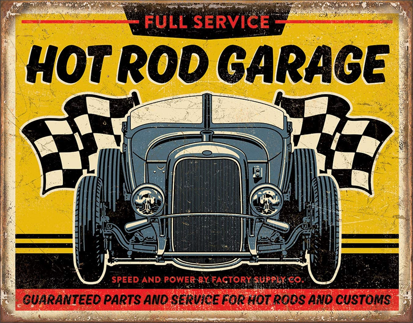 "Desperate Enterprises Hot Rod Garage - '32 Rod Tin Sign, 16"" W x 12.5"" H"